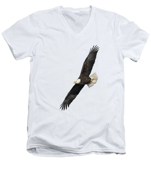Men's V-Neck T-Shirt featuring the photograph Isolated American Bald Eagle 2016-3 by Thomas Young