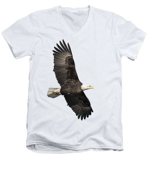 Men's V-Neck T-Shirt featuring the photograph Isolated American Bald Eagle 2016-4 by Thomas Young
