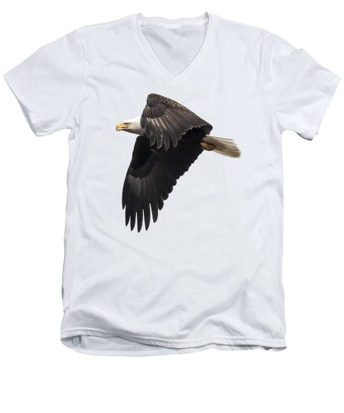 Men's V-Neck T-Shirt featuring the photograph Isolated American Bald Eagle 2016-6 by Thomas Young