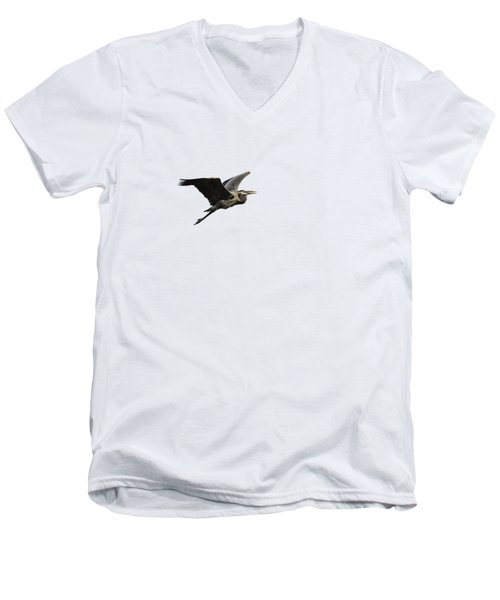Men's V-Neck T-Shirt featuring the photograph Isolated Great Blue Heron 2015-3 by Thomas Young