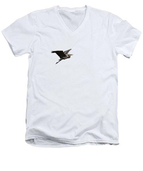Isolated Great Blue Heron 2015-3 Men's V-Neck T-Shirt