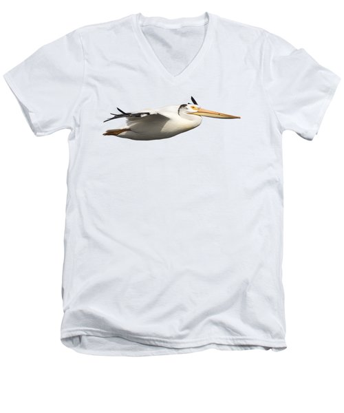Isolated Pelican 2016-1 Men's V-Neck T-Shirt by Thomas Young