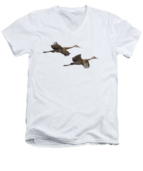 Isolated Sandhill Cranes 2016-1 Men's V-Neck T-Shirt by Thomas Young