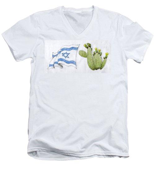 Men's V-Neck T-Shirt featuring the drawing Israel by Annemeet Hasidi- van der Leij