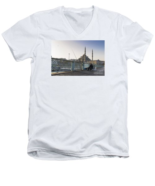 Men's V-Neck T-Shirt featuring the photograph Istanbul From The Galata Bridge by Yuri Santin