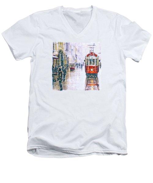 Istanbul Nostalgic Tramway Men's V-Neck T-Shirt by Marian Voicu