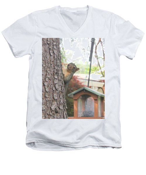 Men's V-Neck T-Shirt featuring the photograph It Was Not Me I Tell Yuh by Marie Neder