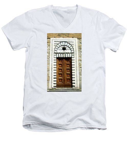 Italy, Door, Florence, Firenze Men's V-Neck T-Shirt by Lisa Boyd