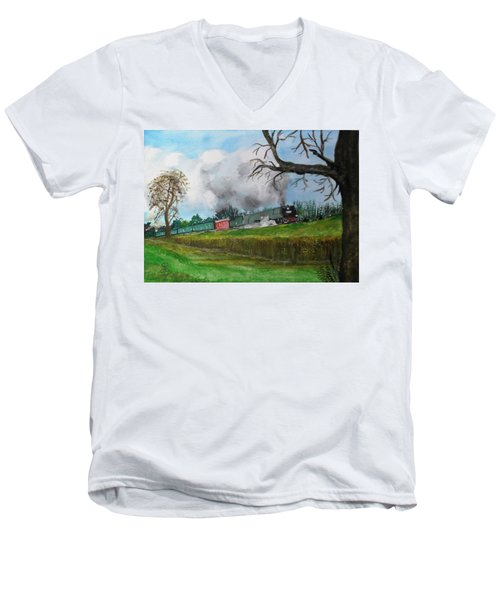 It's All Uphill To Scotland Men's V-Neck T-Shirt by Carole Robins