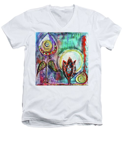 Men's V-Neck T-Shirt featuring the mixed media It's Connected To The Moon by Mimulux patricia no No