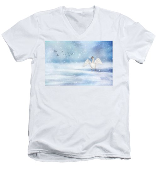 Men's V-Neck T-Shirt featuring the photograph It's Snowing by Annie Snel