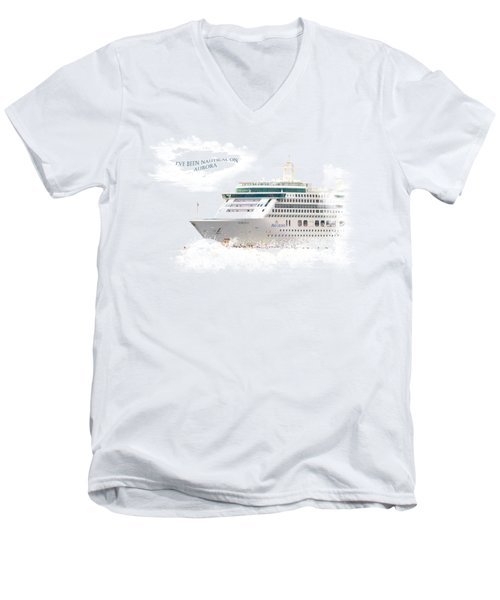 I've Been Nauticle On Aurora On Transparent Background Men's V-Neck T-Shirt by Terri Waters