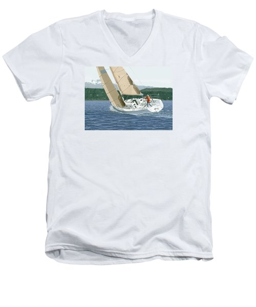 J-109 Sailboat Sail Boat Sailing 109 Men's V-Neck T-Shirt
