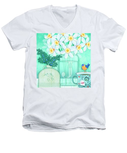 J Is For Jar Of Jonquils Men's V-Neck T-Shirt