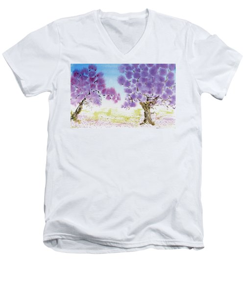 Jacaranda Trees Blooming In Buenos Aires, Argentina Men's V-Neck T-Shirt