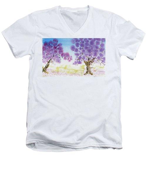 Jacaranda Trees Blooming In Buenos Aires, Argentina Men's V-Neck T-Shirt