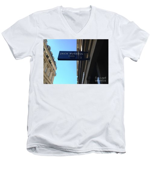 Men's V-Neck T-Shirt featuring the photograph Jack Russell Paris by Therese Alcorn