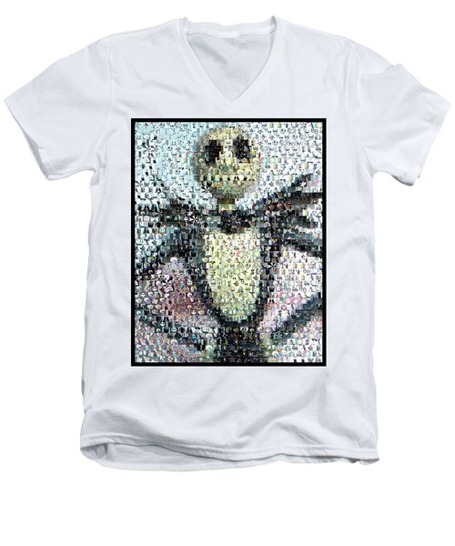 Jack Skellington Mosaic Men's V-Neck T-Shirt