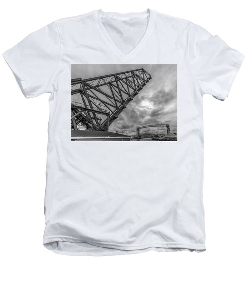 Jackknife Bridge To The Clouds B And W Men's V-Neck T-Shirt