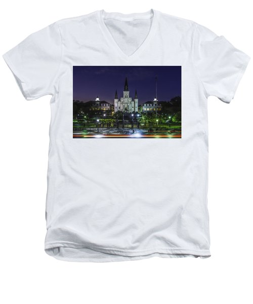Jackson Square And St. Louis Cathedral At Dawn, New Orleans, Louisiana Men's V-Neck T-Shirt