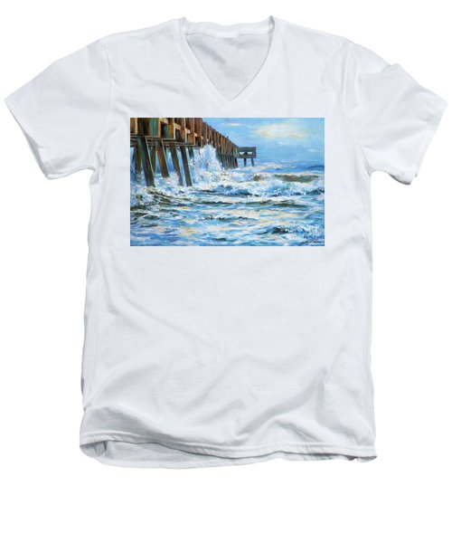 Jacksonville Beach Pier Men's V-Neck T-Shirt