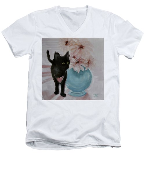 Jacobs's Cat Men's V-Neck T-Shirt by Julie Todd-Cundiff