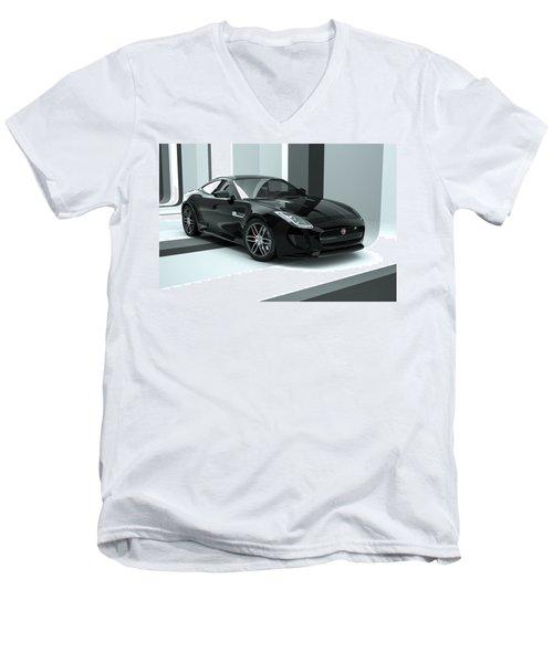 Jaguar F-type - Black Retro Men's V-Neck T-Shirt