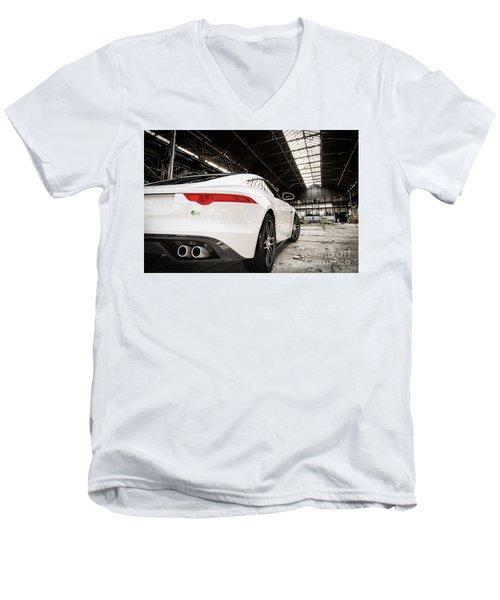 Jaguar F-type - White - Rear Close-up Men's V-Neck T-Shirt