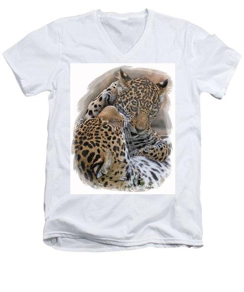 Jaguar Mother And Cub 4 Men's V-Neck T-Shirt