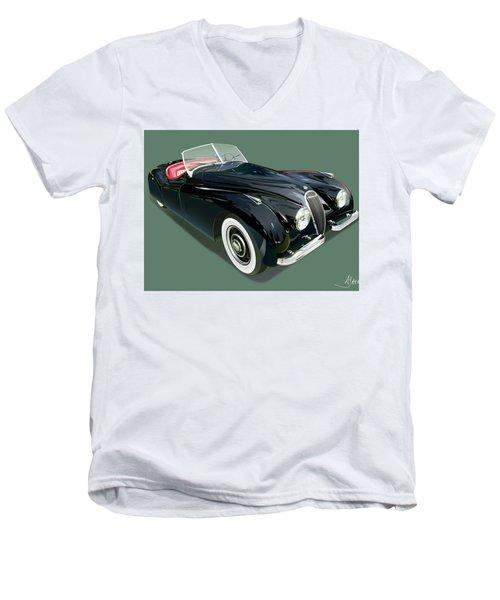 Jaguar Xk 120 Illustration Men's V-Neck T-Shirt by Alain Jamar