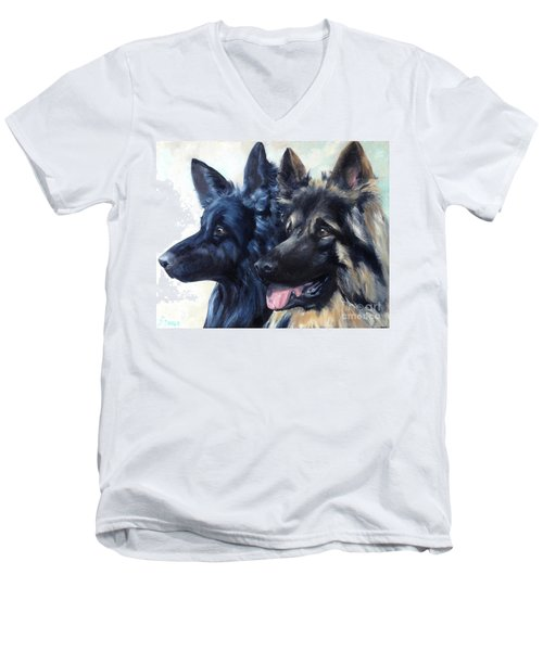 Jake And Shiloh Men's V-Neck T-Shirt by Diane Daigle