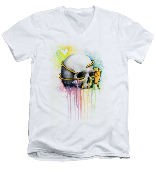 Jake The Dog Hugging Skull Adventure Time Art Men's V-Neck T-Shirt