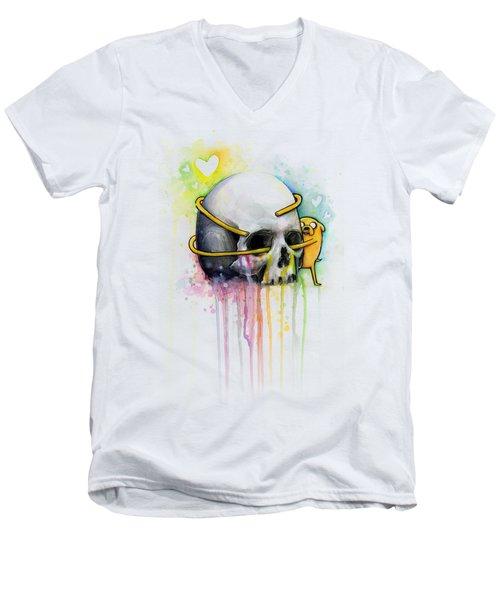 Jake The Dog Hugging Skull Adventure Time Art Men's V-Neck T-Shirt
