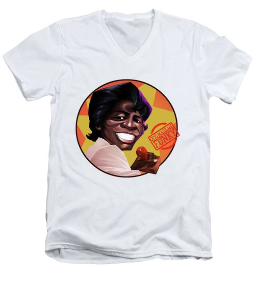 Men's V-Neck T-Shirt featuring the drawing James Brown by Nelson Dedos Garcia