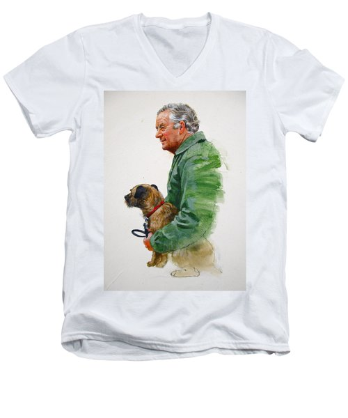 James Herriot And Bodie Men's V-Neck T-Shirt by Cliff Spohn
