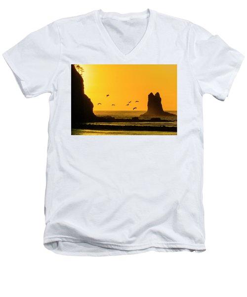 James Island And Pelicans Men's V-Neck T-Shirt