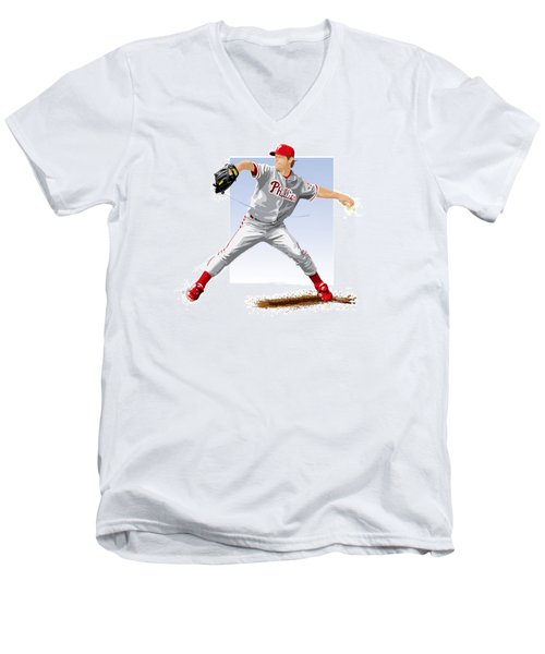 Jamie Moyer Men's V-Neck T-Shirt by Scott Weigner