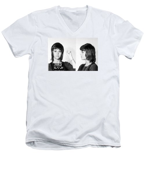 Jane Fonda Mug Shot Horizontal Men's V-Neck T-Shirt by Tony Rubino