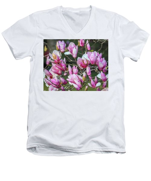 Men's V-Neck T-Shirt featuring the photograph Japanese Blooms by Gregory Daley  PPSA