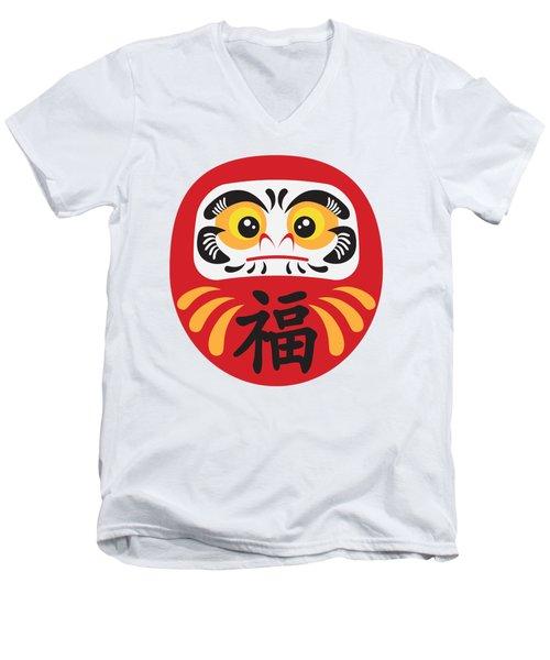 Japanese Daruma Doll Illustration Men's V-Neck T-Shirt