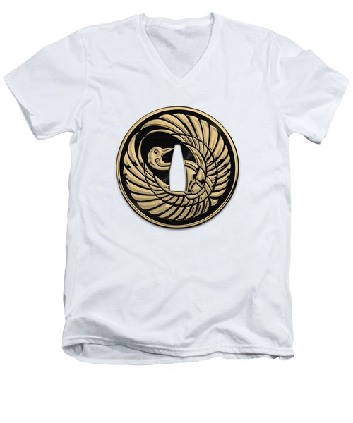 Japanese Katana Tsuba - Golden Crane On Black Steel Over White Leather Men's V-Neck T-Shirt