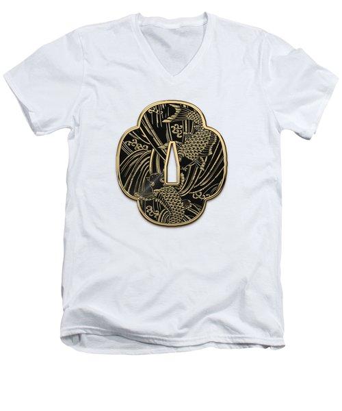 Japanese Katana Tsuba - Golden Twin Koi On Black Steel Over White Leather Men's V-Neck T-Shirt