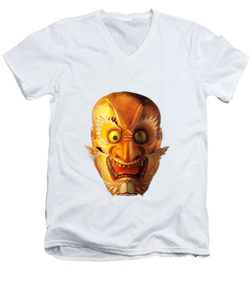 Japanese Mask Cutout Men's V-Neck T-Shirt by Linda Phelps
