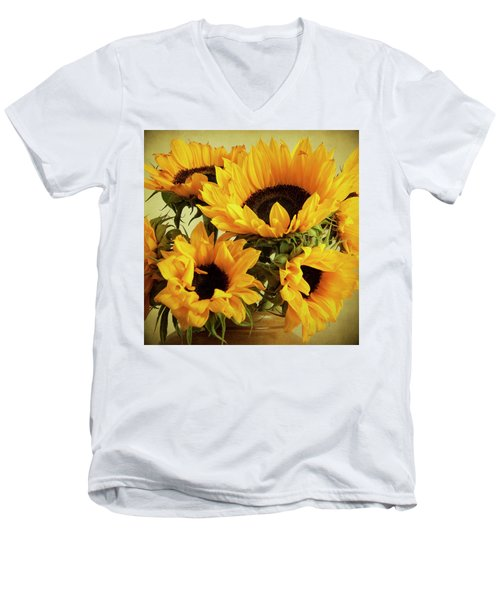 Jar Of Sunflowers Men's V-Neck T-Shirt