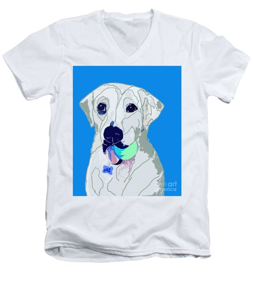Jax With Ball In Blue Men's V-Neck T-Shirt