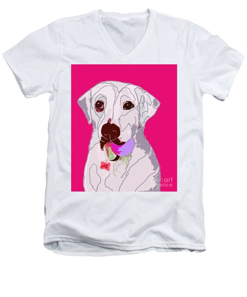 Jax With Ball In Pink Men's V-Neck T-Shirt