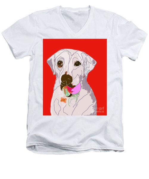 Jax With Ball In Red Men's V-Neck T-Shirt