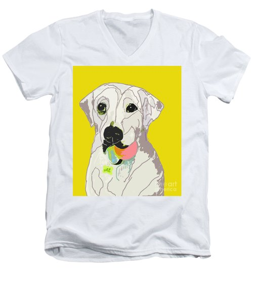Jax With Ball In Yellow Men's V-Neck T-Shirt