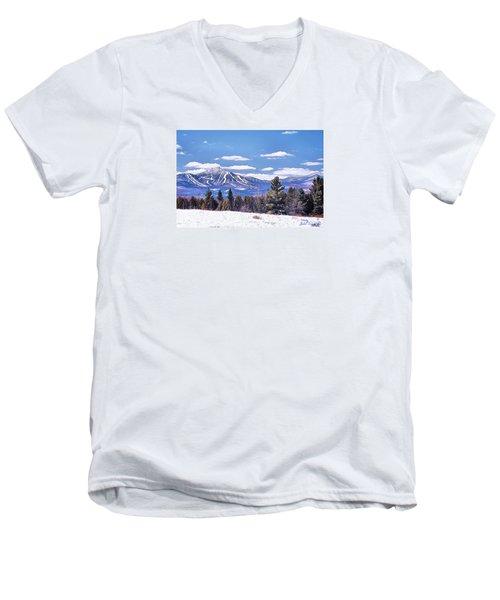 Men's V-Neck T-Shirt featuring the digital art Jay Peak by John Selmer Sr