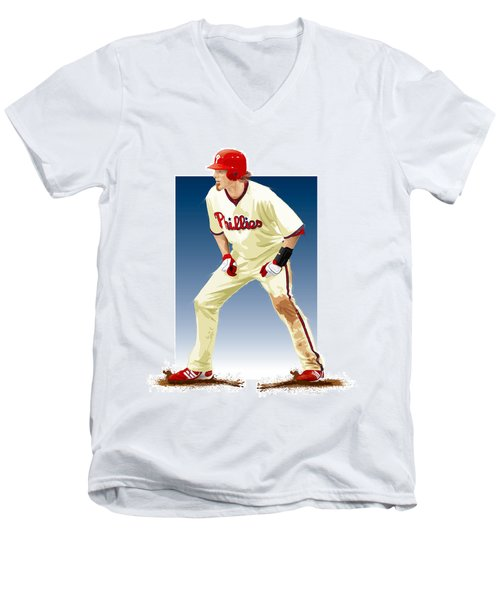 Jayson Werth Men's V-Neck T-Shirt by Scott Weigner